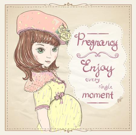 mujer con rosas: Embarazo cita tarjeta. Disfruta de cada momento, retrato gráfico de una mujer joven embarazada en vestido amarillo y sombrero