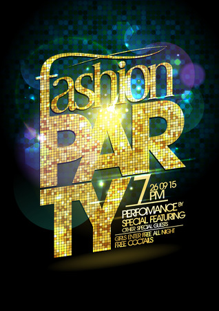 headline: Fashion party vector poster with gold crystal glare headline