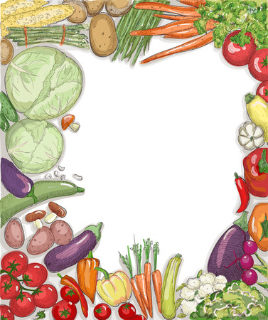 Natural food vegetables frame against white backdrop with emty place for text.