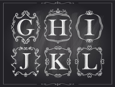 calligraphic: Blackboard chalk vintage calligraphic letters in monogram retro frames, alphabet logos set - G, H, I, J, K, L Illustration