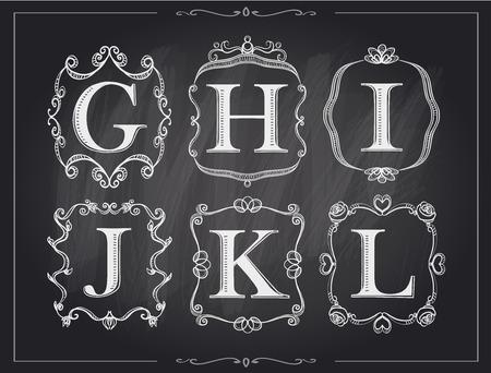 l background: Blackboard chalk vintage calligraphic letters in monogram retro frames, alphabet logos set - G, H, I, J, K, L Illustration