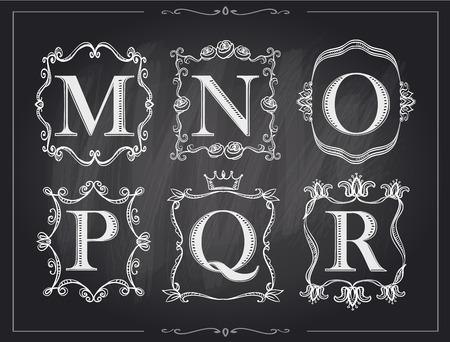 r p m: Blackboard chalk vintage calligraphic letters in monogram retro frames, alphabet logos set - M, N, O, P, Q, R Illustration