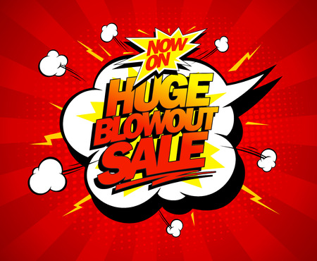 bomb explosion: Huge blowout sale vector pop-art banner