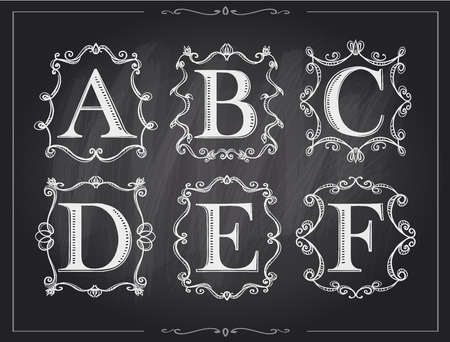 letter b: Blackboard chalk vintage calligraphic letters in monogram retro frames, alphabet logos set - A, B, C, D, E, F Illustration