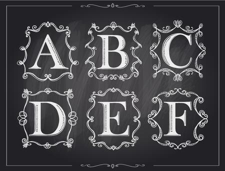 Blackboard chalk vintage calligraphic letters in monogram retro frames, alphabet logos set - A, B, C, D, E, F Illustration