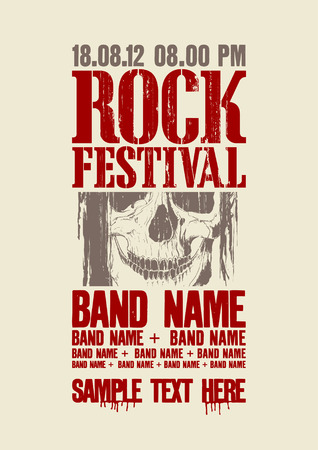 intertainment: Rock festival design template with skull and place for text.
