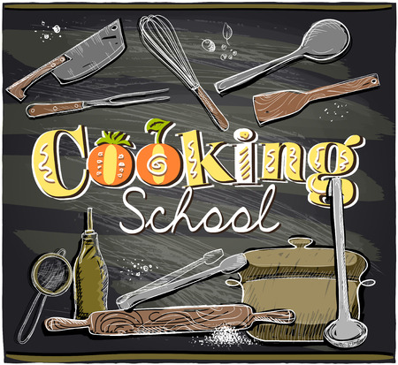jefe de cocina: Diseño de pizarra de la escuela de cocina con utensilios. Eps10