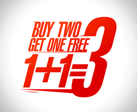 free: 1+1=3 sale design illustration. Illustration