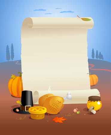 paper roll: Thanksgiving design with paper roll and traditional stuffs.