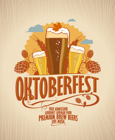 beer party: Oktoberfest poster with beer glasses on a retro style wooden backdrop.