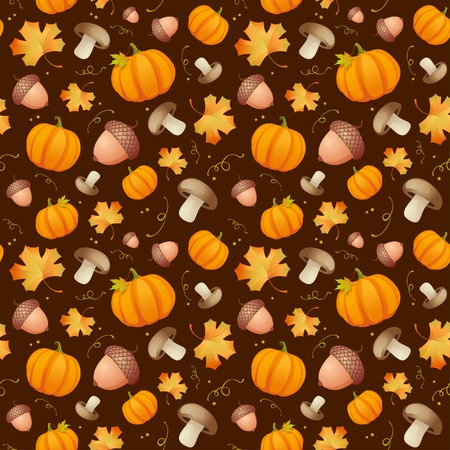 acorns: Autumn pattern with leaves, acorns and pumpkins.