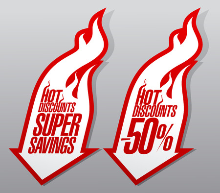 discount banner: Hot discounts, super savings fiery pointers.