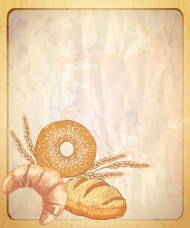 paper graphic: Old paper backdrop with empty place for text and graphic illustration of assorted pastry.