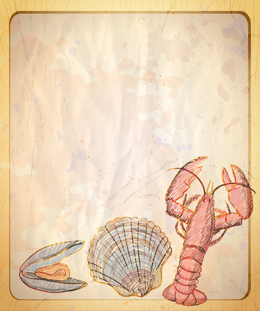 paper graphic: Vintage paper backdrop with empty place for text and graphic illustration of mussel and crayfish. Illustration