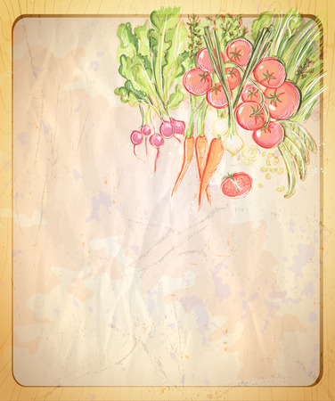 Empty old paper backdrop with hand drawn graphic illustration of assorted vegetables, vintage style.