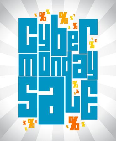 Cyber monday sale text design.