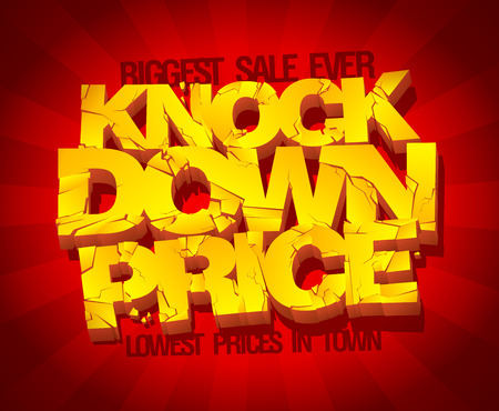 Knock down price banner. Sale typographic design with gold broken text against deep red rays backdrop.