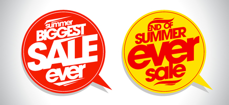 biggest: Summer biggest sale ever speech bubbles set.