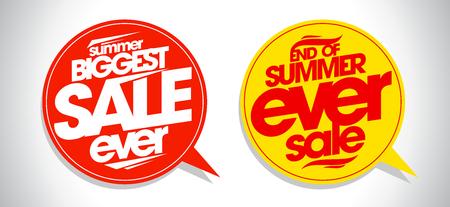 ever: Summer biggest sale ever speech bubbles set.