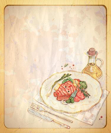 手で古い空の紙の背景には、ギリシャ風サラダの図が描かれています。