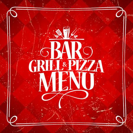 old bar: Grill and Pizza bar vintage menu. Illustration