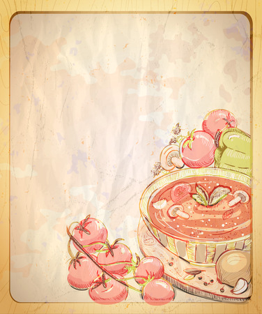 soup: Empty paper backdrop with hand drawn graphic illustration of tomato soup, retro style. Illustration
