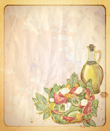 Old empty paper backdrop with hand drawn graphic illustration of greek salad. Ilustracja