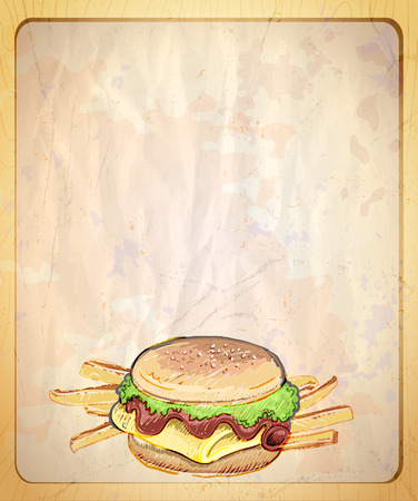 french countryside: Old style paper menu list with empty place for text and  hand drawn graphic illustration of burger and fries.