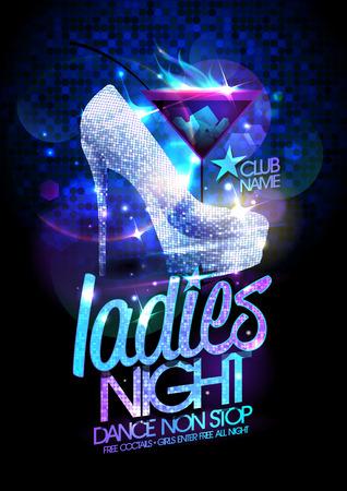 paisajes noche pareja: Ladies night ilustración del cartel con cristales de diamante de tacón alto zapatos y cóctel de la quema. Vectores