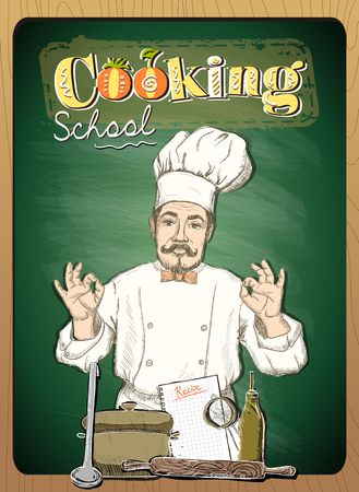 Cooking school design with chef cook against green  chalkboard backdrop.