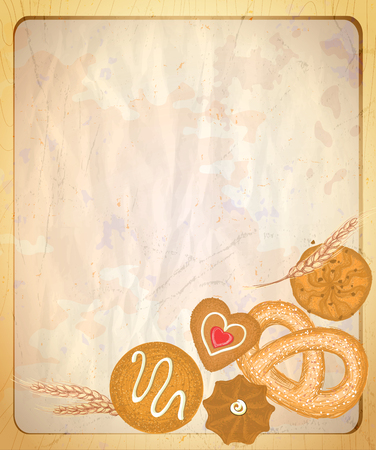 backdrops: Paper backdrop with empty place for text and hand drawn graphic illustration of assorted cookies, vintage style.