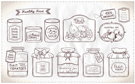 canned goods: Hand drawn graphic illustration set of canned goods and tags on a paper. Illustration