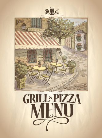 italy street: Grill and Pizza menu template with graphic retro illustration of a street cafe. Illustration