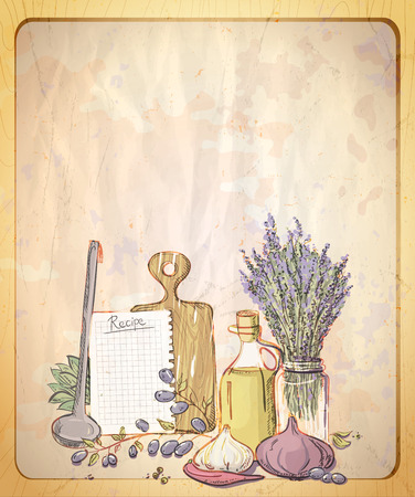 Vintage style paper backdrop with empty place for text and graphic illustration of provence still life. Vettoriali