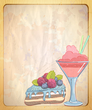 Empty paper backdrop with hand drawn graphic illustration of cake and fruit dessert, vintage style.