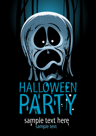 ghost: Halloween party design with screaming ghost.