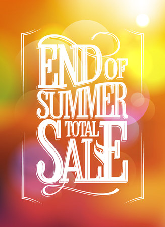 end of summer: End of summer total sale text design against sunny bokeh  backdrop.