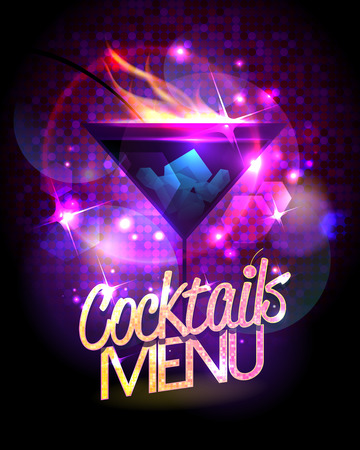menu: Cocktails menu vector design with burning cocktail against disco sparkles.