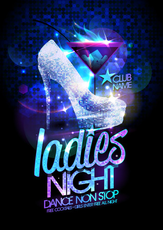 disco: Ladies night poster illustration with high heeled diamond crystals shoes and burning cocktail.