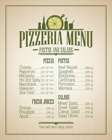 pizzeria label: Pizzeria menu list, vintage style.