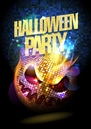 celebração: Poster do partido de Halloween com bola de discoteca assustador.