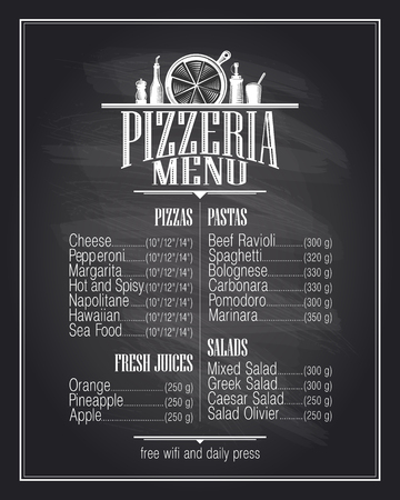 pizza place: Chalkboard pizzeria menu list design.
