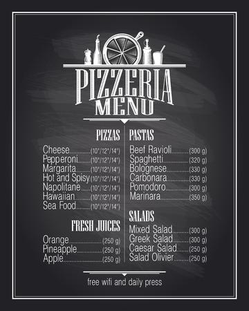 Chalkboard pizzeria menu list design.