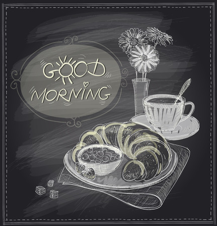 good food: Breakfast good morning chalkboard design with croissant and coffee. Illustration
