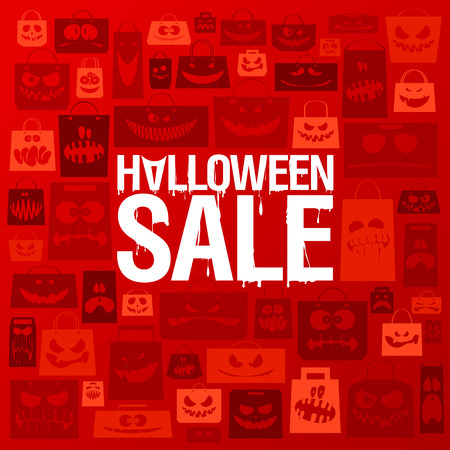 paper bags: Halloween sale banner against scary paper bags background.