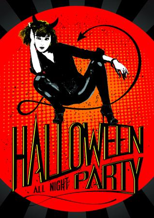 devil ray: Devil woman Halloween party design.