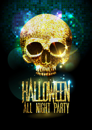 disco symbol: Fashion halloween party poster with gold sparkles skull.