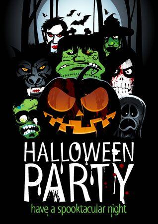 party design: Halloween party design Illustration
