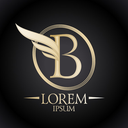 Gold elegant letter B with wing and place for text logo template. Illustration