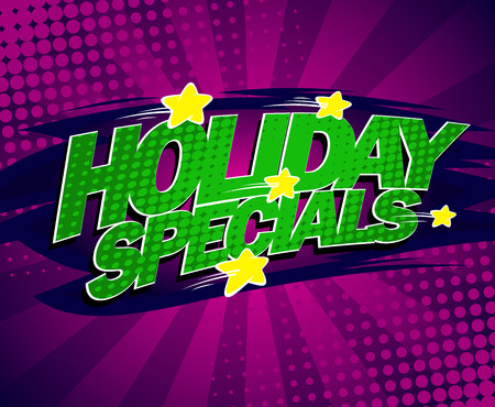 specials: Holiday specials bright violet banner, comic style.